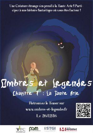 Ombres et légendes chapitre 1 la tante Arie, projet transmédia du master 1 PSM Montbéliard - Affiche